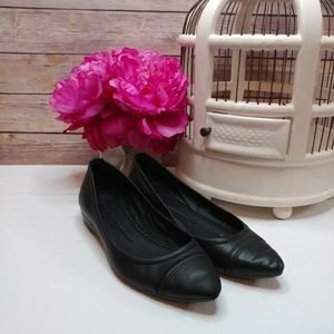 Frye black leather pointed flats w/ hidden wedge